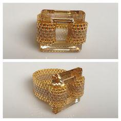 Square Swarovski Crystal Peyote Seed Bead Ring - Yuki's Rings