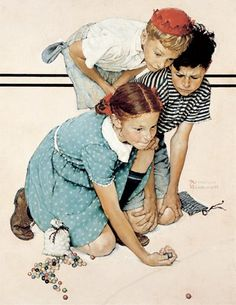 Norman Rockwell © 1939 SEPS: Licensed by Curtis Publishing, Indpls, IN. All rights reserved - Marble Champion - The Saturday Evening Post, September 2, 1939 oil on canvas, 28 x 22 in. Collection of George Lucas