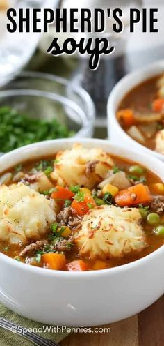 Shepherd's Pie Soup is a family favorite! A rich and beefy broth loaded with vegetables and topped with golden potato puffs! #soup #shepherdspie #groundbeef #stew #easyrecipe #spendwithpennies #hamburger