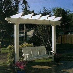 New backyard deck pergola benches ideas Backyard Swing Sets, Pergola Swing, Deck With Pergola, Outdoor Pergola, Covered Pergola, Backyard Pergola, Pergola Shade, Diy Patio, Backyard Landscaping