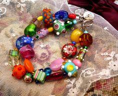 Glass bead bracelet by Thinkback on Etsy, $38.00