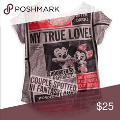 Disney Parks My true love newspaper top size S Up for sale is a lovely t-shirt from Disney Parks. It is labeled a women's size small.  The shirt features a montage of tabloids covering the sensational romances of Mickey and Minnie and Donald and Daisy. Shirt is brand new never worn, still has original park tag. Not available at the park anymore. disney parks Tops