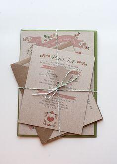 Wedding Invitation / / Rustic & Modern Kraft Paper Invite / / Pink, Green and Kraft Garden Wedding Wedding Invitation Paper, Wedding Paper, Invitation Ideas, Invitation Cards, Wedding Events, Our Wedding, Spring Wedding, Garden Wedding, Wedding Ideas