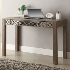 Found it at Wayfair - Helena 1 Drawer  Writing Desk with Mirror Accent Panel