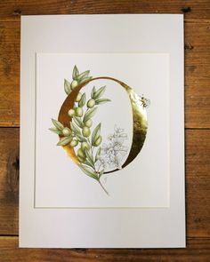 Floral Letters, Gouache Painting, Beautiful Paintings, Gold Leaf, Giclee Print, Fine Art Prints, Things To Come, How To Apply, Lettering