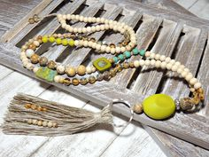 Ketten lang - Lange Kette - BÖHMISCHE GLASPERLEN - JASPIS - - ein Designerstück von Kunterbuntes-Perlenspiel bei DaWanda