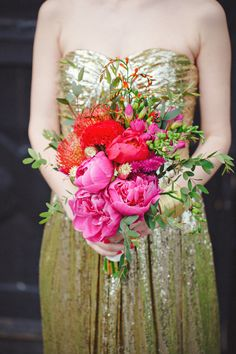 Bright pink and red #bouquet aganist a gorgeous @Lauren Davison Thompson The Runway gown | Photography: www.cleanplatepictures.com | Design: http://michelleferrarahandmade.com