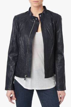 Leather Stand Collar Jacket in Navy