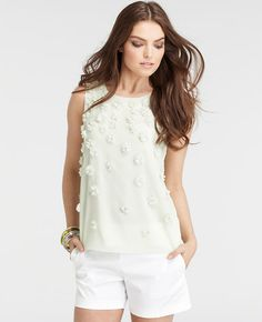 Petite Floral Embellished Sleeveless Top