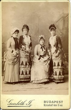 Four fashionably attired young Hungarian women, 1880s. #Victorian #portraits