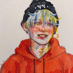 Kpop Drawings, Kpop Fanart, Colorful Drawings, Foto Bts, Bts Boys, Steven Universe, Art Inspo, Art Sketches, Cool Art