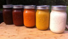 Five Homemade BBQ Sauces--Coffee, Sweet Heat, Silky Butter , Marverlous Mustard and Alabama White Five great recipes for homemade bbq sauce that you are sure to love! Classics like Alabama White as well as a few others that you haven't seen before. Homemade Seasonings, Homemade Sauce, Barbeque Sauce, Bbq Sauces, Barbecue Sauce Recipes, Chutneys, Salsa Picante, Salsa Teriyaki, Seasoning Mixes