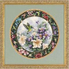 [ 25% OFF ] New Counted Cross-Stitch Kits Flowers Hummingbird Wreath Patterns 11Ct On Needlework Embroidery Cross Stitch X.x.fish B070