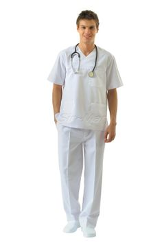 DC-14 DOCTOR UNIFORM  •Top and Pant •Alpaca fabric, %65/35 poly/viscose •V-collar •One breast and two patch pockets •Short or long sleeve options •Closed front •Wrinkle resistant •No yellowing •Color:  White    •Optional pastel colors  •Sizes(US): XS – S -M - L - XL -2XL -3XL •Sizes(EU): 46 -48 -50 -52 -54 -56  -58