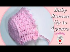 Como tejer gorro capota para bebé con ganchillo croché para niñas -Baby bonnet -Crochet for Baby 195 Crochet Baby Cap, Crochet Baby Bonnet, Crochet Baby Cardigan, Newborn Crochet, Crochet Baby Booties, Easy Crochet, Crochet Hats, Crochet Girls, Baby Hat Knitting Pattern