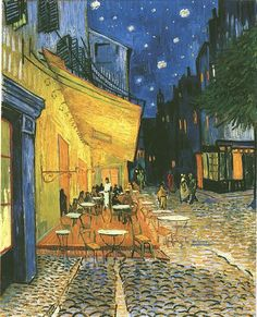 Cafe Terrace at Night (1888) by Vincent van Gogh. I love this painting.