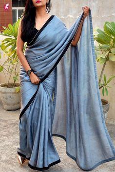 Buy Blue Shade Colored Beautiful Pure Silk Touch Original Fabric Designer Saree With Blouse Velvet Saree, Satin Saree, Chiffon Saree, Saree Dress, Saree Blouse, Silk Satin, Simple Sarees, Trendy Sarees, Stylish Sarees