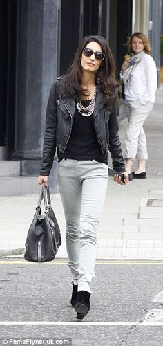 Amal Alamuddin was spotted in a pair of grey jeans teamed with a black top and leather jacket http://dailym.ai/1p9tyq0