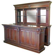 Exceptional Solid Mahogany Pub Counter U0026 Back Bar, Home Drinks Wine Shop
