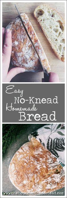 Easy, No-Knead, Homemade Bread