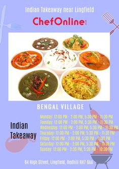 Bengal Village offers delicious Indian Food in Lingfield, Redhill Browse takeaway menu and place your order with ChefOnline. Bengal, Indian Food Recipes, A Table, Menu, Delivery, Restaurant, Fresh, Heart