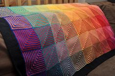 Ravelry: NitaKnitting's Hue Shift Afgan (project from paid pattern on Rav.  make with dual rainbows.)