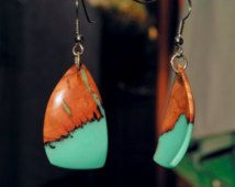 Turquoise Resin and Wood Earrings; Wood and Resin Earrings; Wood and Resin Jewelry