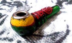 Colors Hippie Rasta Tobacco Smoking Pipe Collection Small Bowl Design Metal Edge