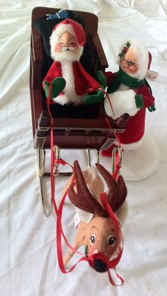 ANNALEE Santa Claus, Mrs. Claus & Reindeer + Custom-made Wood SLEIGH  - All Vintage GORGEOUS by Thriftnstyle on Etsy