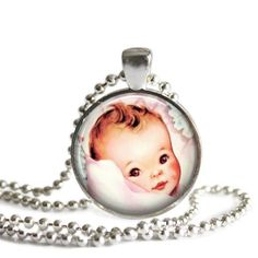Vintage Baby Art Photo Baby Showers Silver Round Pendant Necklace With Chain
