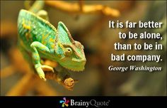 It is far better to be alone, than to be in bad company. - George Washington