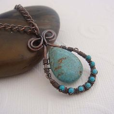 wire wrapped copper and turquoise pendant necklace
