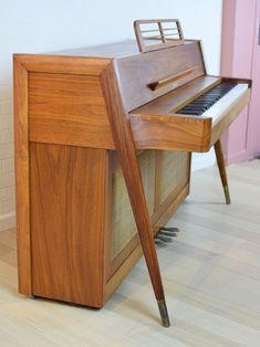 Rare 1960s Danish Mid Century Modern Upright Piano —
