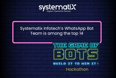 """It is with great pleasure and excitement that Systematix Infotech announces that its team stands among the Top 14 shortlisted entries in """"The Game of Bots"""". Congratulations team on your well-deserved success. #gameofbots #whatsappchatbot #kudos #teamwork #proud #achievement #teamsystematix #hackathon2020 Top 14, Teamwork, Congratulations, Success, Games, Gaming, Plays, Game, Toys"""