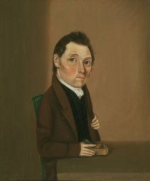 """William Bonnell (1804–1865). Inscribed on reverse: """"March 4th/1825/Portrait of Wm Bonham/ Painted at the age of 38 years"""". Oil on panel, about 12"""" x 10""""."""