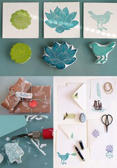 printmaking: useful ideas for homemade stamps. - love the layout of the product photography Diy Stamps, Homemade Stamps, Stamp Printing, Printing On Fabric, Screen Printing, Stamp Carving, Fabric Painting, Hand Carved, Craft Projects