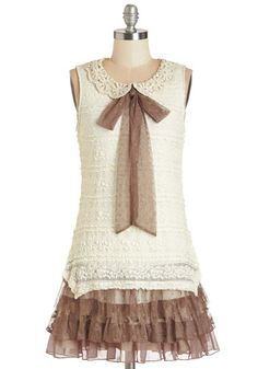Sweet Cred Dress - Brown, Crochet, Lace, Tiered, Daytime Party, A-line, Sleeveless, Woven, Lace, Better, Collared, Short, Cream, Tie Neck, V...