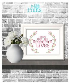 Easter Wall Art / I Know That My Redeemer Lives / Religious Easter Print / Christian Decor / Printable Home Decor  Share your testimony of our Redeemer with this gorgeous print that is just waiting to be displayed in your home. A lovely religious Easter print that will not only bring the spirit into your home this spring, but can bring it into your home all year long! Do you love this print? Please check out the other home décor prints and greeting cards we offer at KFPrin...