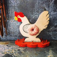 Chicken Pin Cushion  / Sewing Kit / Folk Art by assemblage333