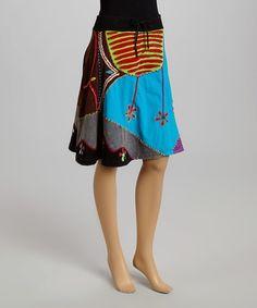 Love this Blue & Purple Patchwork A-Line Skirt on #zulily! #zulilyfinds