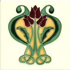 Art Nouveau Fireplace Tiles | Historic Tiles - Tube Lined Art Nouveau Tiles - Lyre Flower $43.00