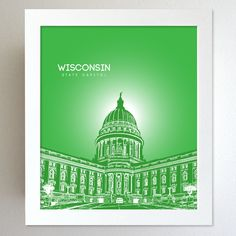 Wisconsin Skyline State Capitol Landmark - Modern Gift Decor Art Poster 8x10. $20.00, via Etsy.