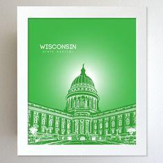 Wisconsin Skyline State Capitol Landmark - Modern Gift Decor Art Poster 8x10. $20.00, via Etsy.