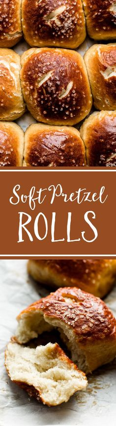 How to make EASY soft pretzel rolls! Golden brown, soft, chewy, and buttery soft pretzels dinner roll style! Recipe on sallysbakingaddiction.com