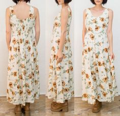 90s Sunflower A line Maxi Dress / Sun Dress / Daisy by Idlized