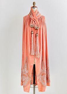 1920s Evening Cape | 20s Dress | Beaded Antique Cape | 20s Evening Coat | Pink Silk Velvet Wrap | Jazz Age Flapper Cape