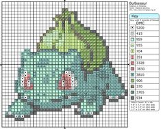 Click the image to enlarge, right click and select Save As to download the pattern. To see what it'll look like stitched, check out what other people have made below. Bulbasaur by =behindthesofa on deviantART Bulbasaur Cross Stitch by ~Mickeycricky on deviantART