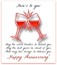 Send anniversary wishes with over 50 messages, greetings, graphics, and cards. Suggestions for both a couple wishing each other a happy anniversary or a friend/family member sending wishes! Wedding Anniversary Quotes For Couple, Anniversary Quotes For Friends, Marriage Anniversary Quotes, Wedding Anniversary Message, Happy Wedding Anniversary Wishes, Birthday Wishes, Wedding Quotes, Birthday Greetings, Funny Birthday