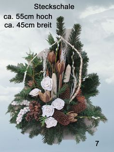 Discover thousands of images about 96 Grabgesteck Totensonntag Gesteck Allerheiligen Cemetery Decorations, Xmas Decorations, Church Flowers, Funeral Flowers, Christmas 2015, Christmas Wreaths, Christmas Table Centerpieces, Angel Decor, All Saints Day