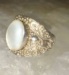 Artisan Crafted Sterling Mother Of Pearl Elongated Ring Size 9